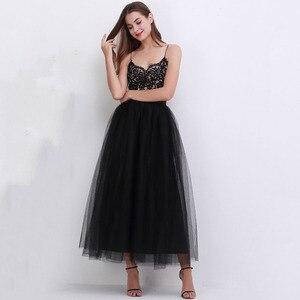 Image 2 - 4 schichten 100cm bodenlangen Röcke für Frauen Elegante Hohe Taille Gefaltete Tulle Rock Brautjungfer Ballkleid Brautjungfer Kleidung