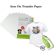 (20 יח\חבילה) ברזל על הזרקת דיו חום העברת הדפסת נייר A4 עבור Textil ברזל על tshirt העברות תרמית העברת נייר