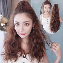 16 inch Long Curly Synthetic Ponytail Light Brown Drawstring Clip In Ponytail Hair Extensions Heat Resistant Hair Tail charming shaggy tacos curly fashion highlight heat resistant synthetic long ponytail for women