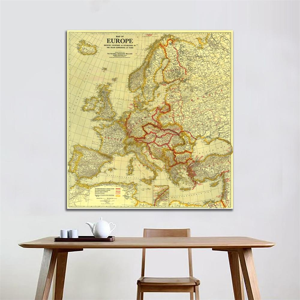60x60 Inches HD Non-woven Waterproof Map Europe Vintage Map Peace Conference At Paris In 1920 For Home Decor Crafts And Wall
