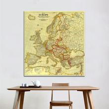 60x60 inches HD Non-woven Waterproof Map Europe Vintage Peace Conference at Paris in 1920 For Home Decor Crafts and Wall