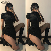 KLALIEN nero stampa In Bianco E Nero in raso Abiti Tradizionali Cinesi Lungo Qipao Del Vestito Sexy Split Tang Costume Banchetto Qipao donna