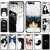 흑백 고양이의 예술 화웨이 명예 노트 6A 7A 7X 8X 9X 8 9 10 Lite 8C 20 Pro 용 소프트 폰 커버 케이스