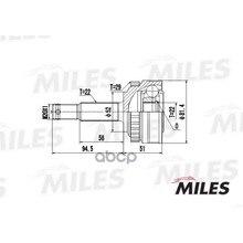 Шрус Opel Astra/Vectra 1.4-1.7d 91-02 Нар.(Abs) Ga20349 Miles арт. GA20349