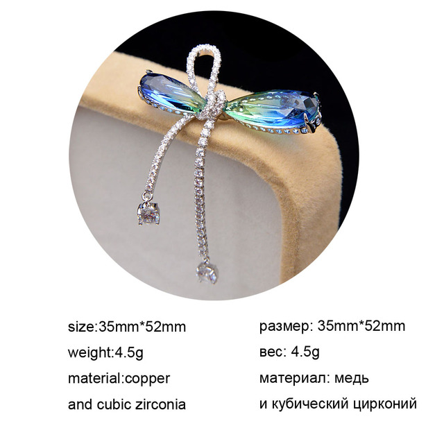 CINDY XIANG Omber Cubic Zirconia Bow Brooches For Women Copper Material Tassel Pin Wedding Jewelry Spring Design Gift