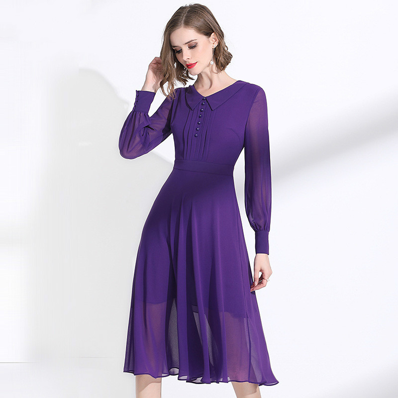 Purple Chiffon Dress Women 2020 Spring Summer New Turn Down Collar Long Sleeves Slim A-Line Classy Dress Over The Knees M-XXL