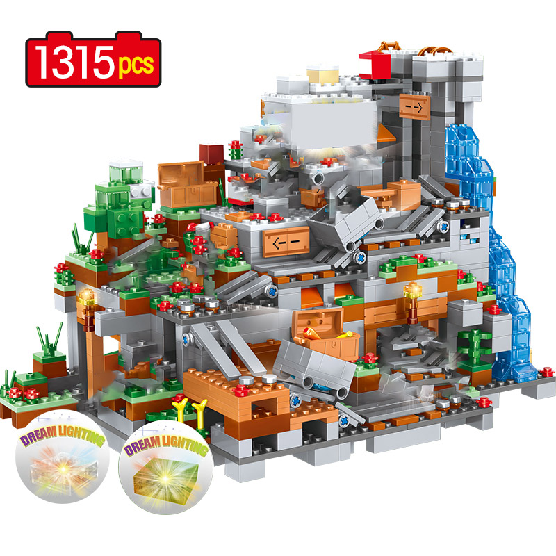 1315 Pcs Mountain Cave Model Building Blocks For Lepinggo Waterfall Bricks Sets Toys For Children Kids Gifts  21137