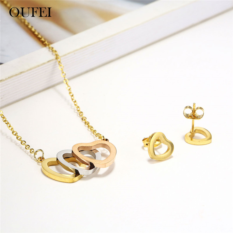 OUFEI Stainless Steel Jewelry Sets Heart Necklace Set Of Earrings For Women Jewellery Summer Accessories Woman Vogue 2019