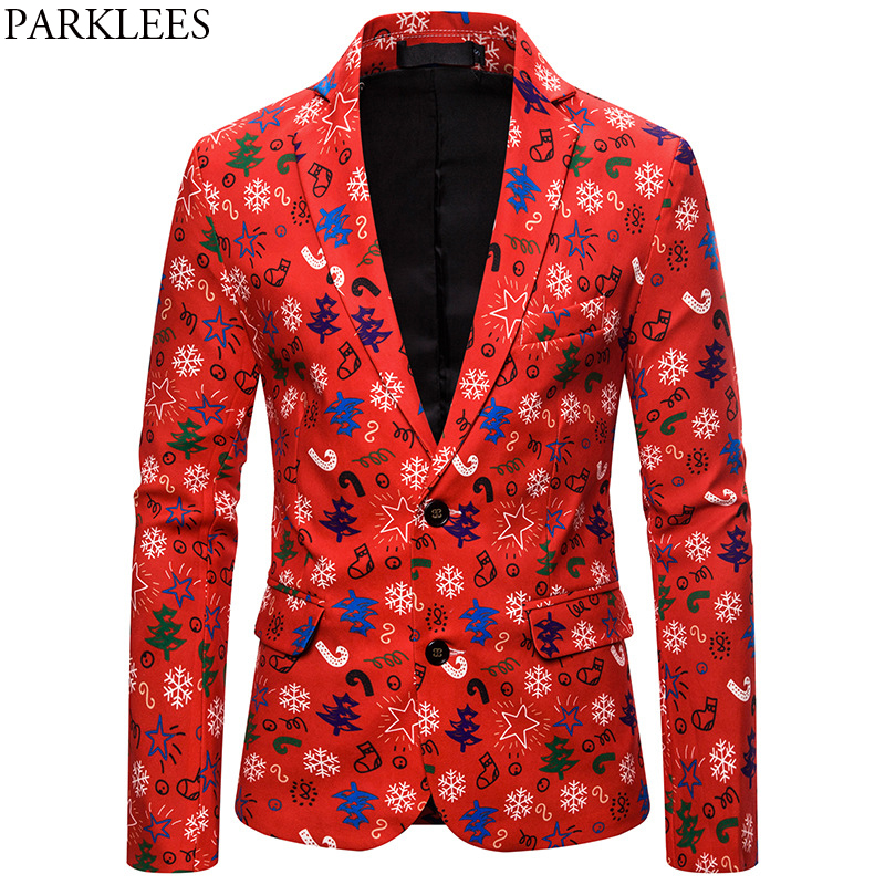 Snowflakes Red Ugly Christmas Suit Jacket Men 2019 Brand New Different Prints Novelty Clothes Mens Xmas Party Stage Costumes 2XL