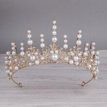 Bridal Headdress Pearl Crown Wedding Hair Accessories Banquet Wedding Dress Jewelry Temperament Queen Inlaid Rhinestone Women