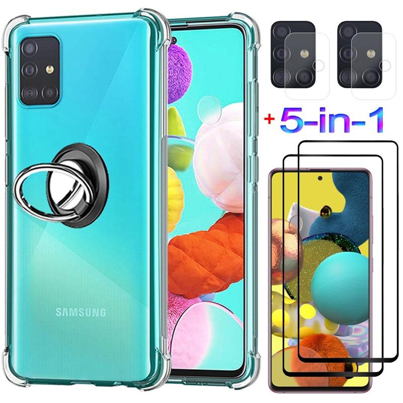5-in-1, ring Fall + Glas für Samsung A71 Weiche Anti-schock Silikon Abdeckung Samsung A51 Telefon Fällen 71 Samsung galaxy A51 Fall