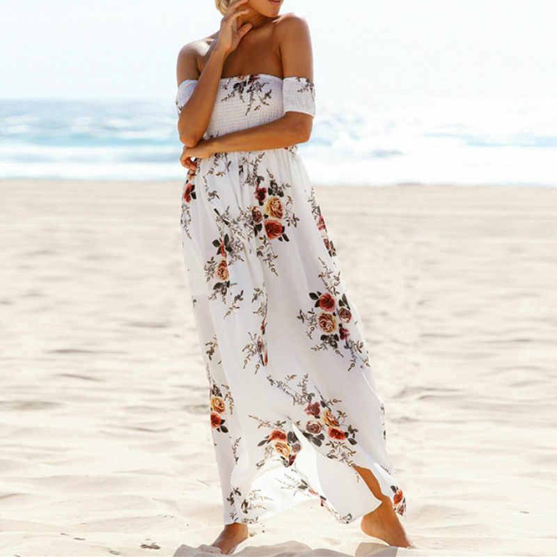 3XL плюс размер Макси длинное платье женский топ с открытыми плечами летнее платье с цветочным принтом шифон платье Элегантный вечерние разрезные сексуальные платья