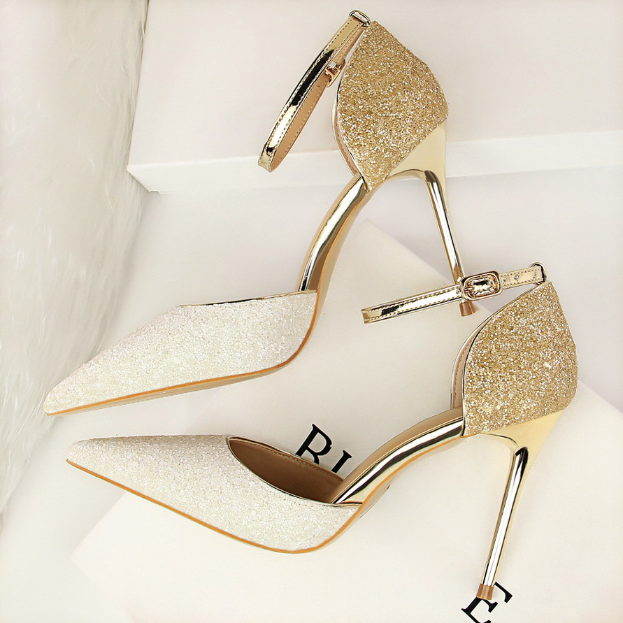 2020 Women 10cm Stiletto High Heels Glitter Sandals Lady Stripper Sequins Gold Silver Wedding Pumps Luxury Quality Prom Shoes