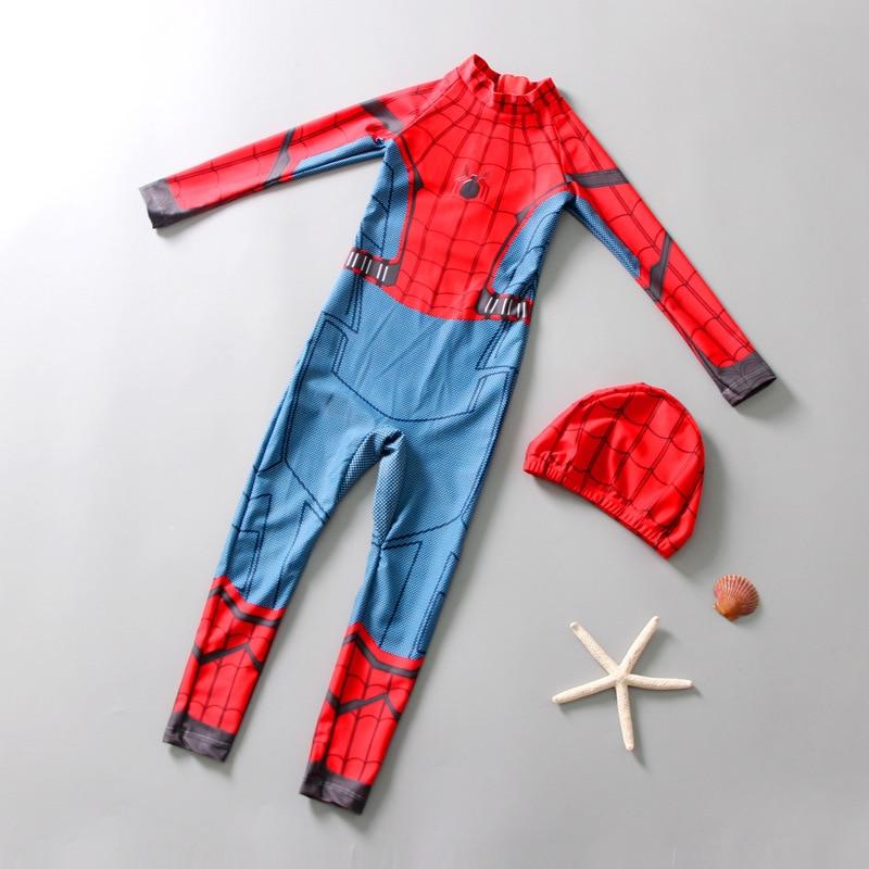 KID'S Swimwear BOY'S One-piece Sun-resistant Warm Long Sleeve Swimwear Diving Suit Big Virgin Boy Spider-Man Tour Bathing Suit