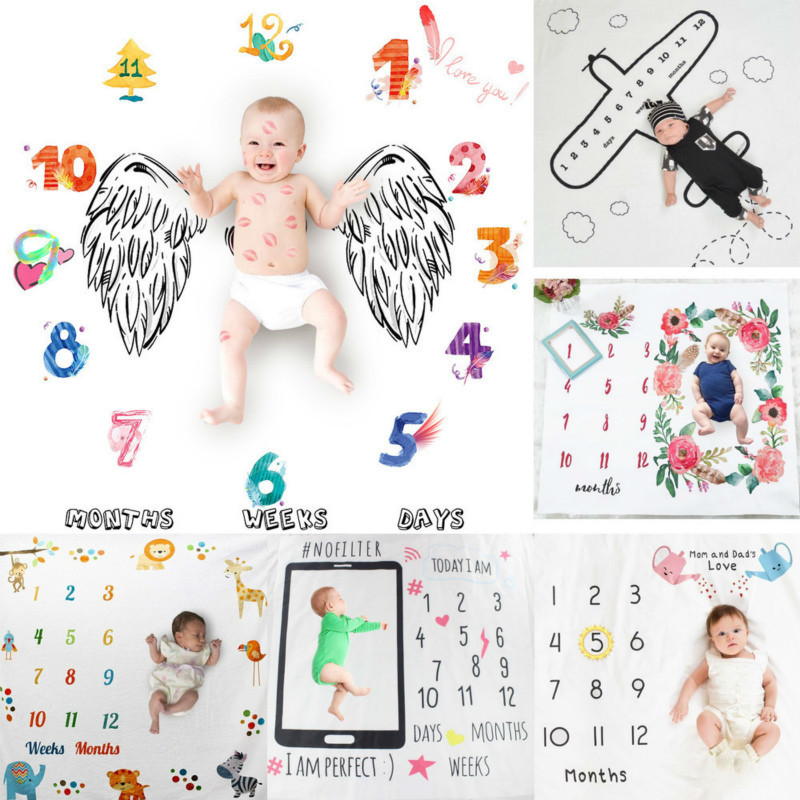 Newborn Baby Monthly Growth Milestone Blanket Infan Photography Props Background Blankets For Baby Boy Girls Carpet Photo Cloth