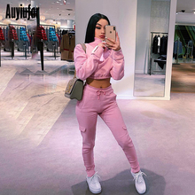 Auyiufar Casual Solid Women Crop Top And Legging Set Skinny Long Sleeve Zipper Pink Matching Active Wear Workout Sporty