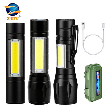 ZHIYU Portable Mini LED Flashlight Zoom Built in Battery USB Rechargeable Lights 3 Modes XPE COB Outdorr Hunting Working Torch panyue usb xml xpe cob led flashlight portable mini zoom torchflashlight waterproof in life lighting