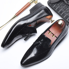 New Arrival British Style Men's Slip-on Shoes Genuine Leather Men Tassel Loafers Fashion Pointed Toe Mens Dress Shoes cangma british style leather pointed shoes tassel casual men handmade designer leisure slip on shoes 2017 male sapato masculinos