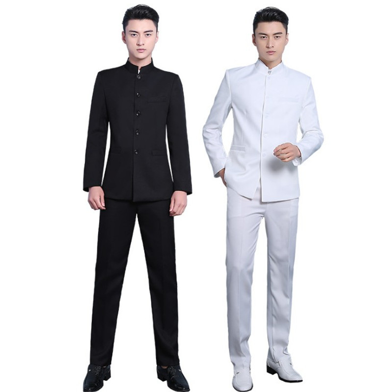 Men's Daily / Work Chinoiserie Regular Suits, Solid Colored Stand / Notch Lapel Long Sleeve Rayon Black