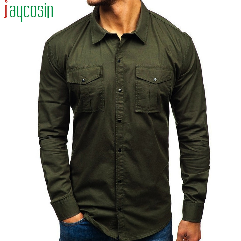 Men Cargo Shirt Solid Color Casual Lapel Long Sleeve Shirt High Quality Multi Pocket Plus Size Mens Clothing Button Fashion Tops