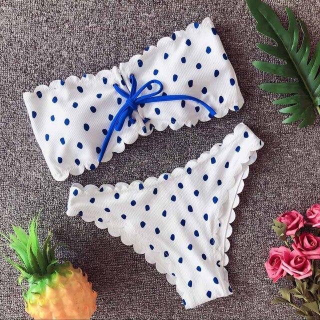Sexy Bikini à pois ensemble vague côté deux pièces maillot de bain Push Up maillots de bain maillot de bain à fleurs brésilien vêtements de plage maillot de bain
