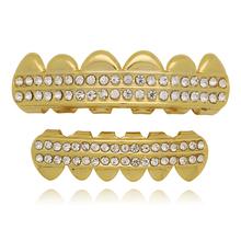 Men Gold Silver Color Teeth Grillz Top Bottom 2Row Iced Out Tooth Grills For Women Cosplay Teeth Caps Rapper Jewelry Gift