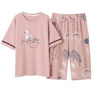Image 5 - M 5XL Cotton Women Pajamas Sets Cute Animal Girls Sleepwear Womens Pijamas Suit Home Clothes Larger Pyjama Femme