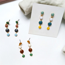 South Korean tide exquisite individual character and colorful candy accessories metal geometry earrings womanhood
