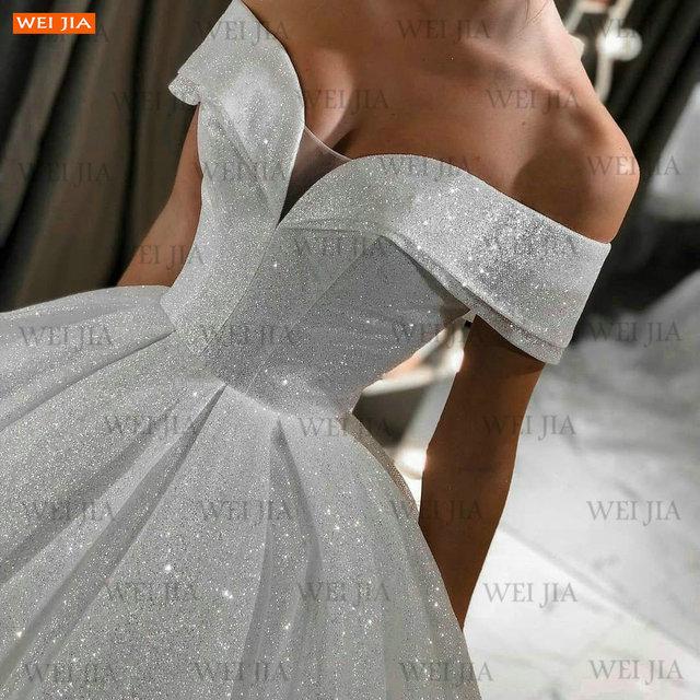 Shiny White Wedding Dresses Lace Up Reflective 2021 Vestido De Noiva Off Shoulder Women Bridal Gowns Customized Suknia Slubna 3