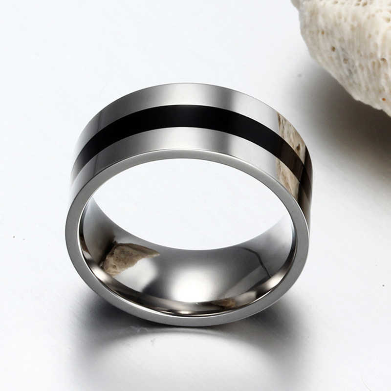 ผู้ชายความกว้าง 9 มม.แหวนเคลือบสีดำแหวนสแตนเลสสตีลขัดแหวน