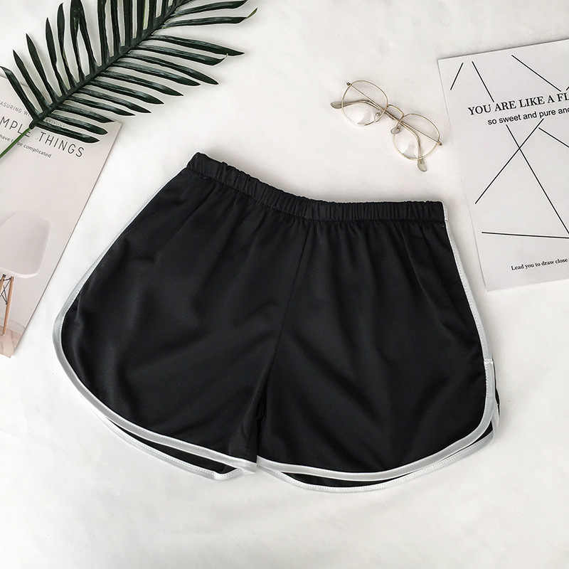 2020 einfache Frauen Casual Shorts Patchwork Körper Fitness Workout Sommer Shorts Weibliche Elastische Dünne dünne Strand Egde Kurze Heißer