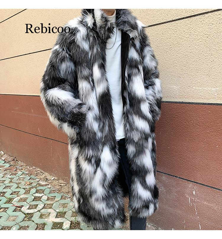 Male Winter Spring Imitation Mink Coat Large Size Turn Down Collar Man Faux Fur Coats Mix Color Mens Fur Outcoats Clothes M-3XL
