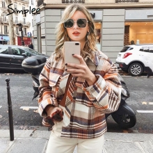 Simplee Single breasted women plaid jacket coat Long sleeve