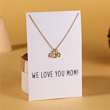 Ailodo Three Birthstones Pendant Necklace For Women Fashion Mom Gift Gold Color Make a Wish Card 2019 New Jewelry LD243