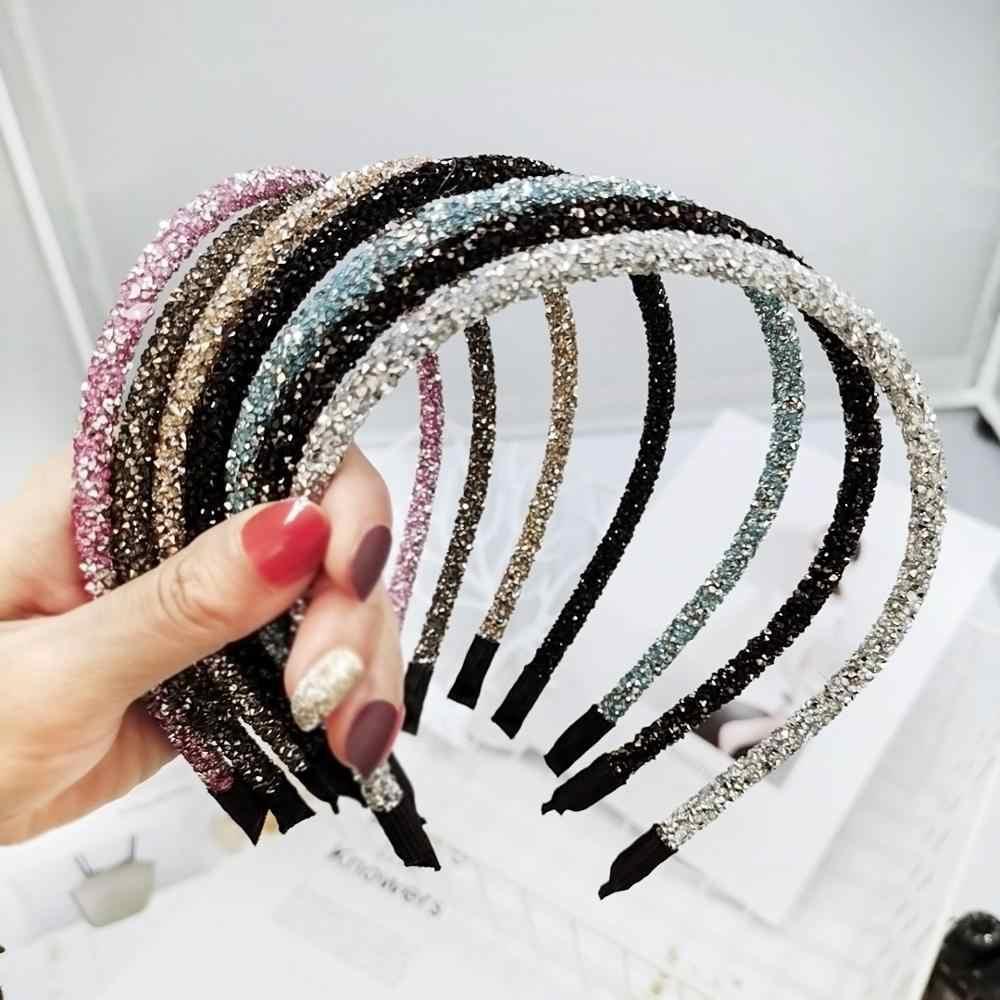 Fashion Korea Kristal Lembut Ikat Kepala untuk Wanita Rhinestone Hairband Manik-manik Bezel Gadis Rambut Aksesoris Sederhana Hiasan Kepala