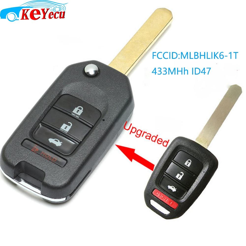 KEYECU amélioré Flip télécommande voiture porte-clés 3 + 1 bouton 433MHz ID47 pour Honda Fit Civic XRV 2015