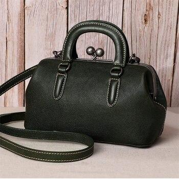 Nesitu Highend Fashion Black Green Red Brown Vegatable Tanned Genuine Leather Women Shoulder Messenger Bag Female Handbag M10628