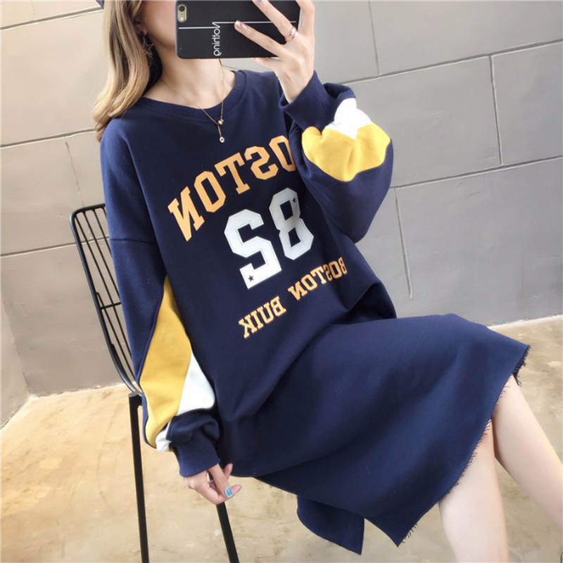 Women's Sweatershirt Hoodie 2019 Winter Wear Loose Printed Letter Round Neck Long Section Plus Velvet Large Size Women's Clothin