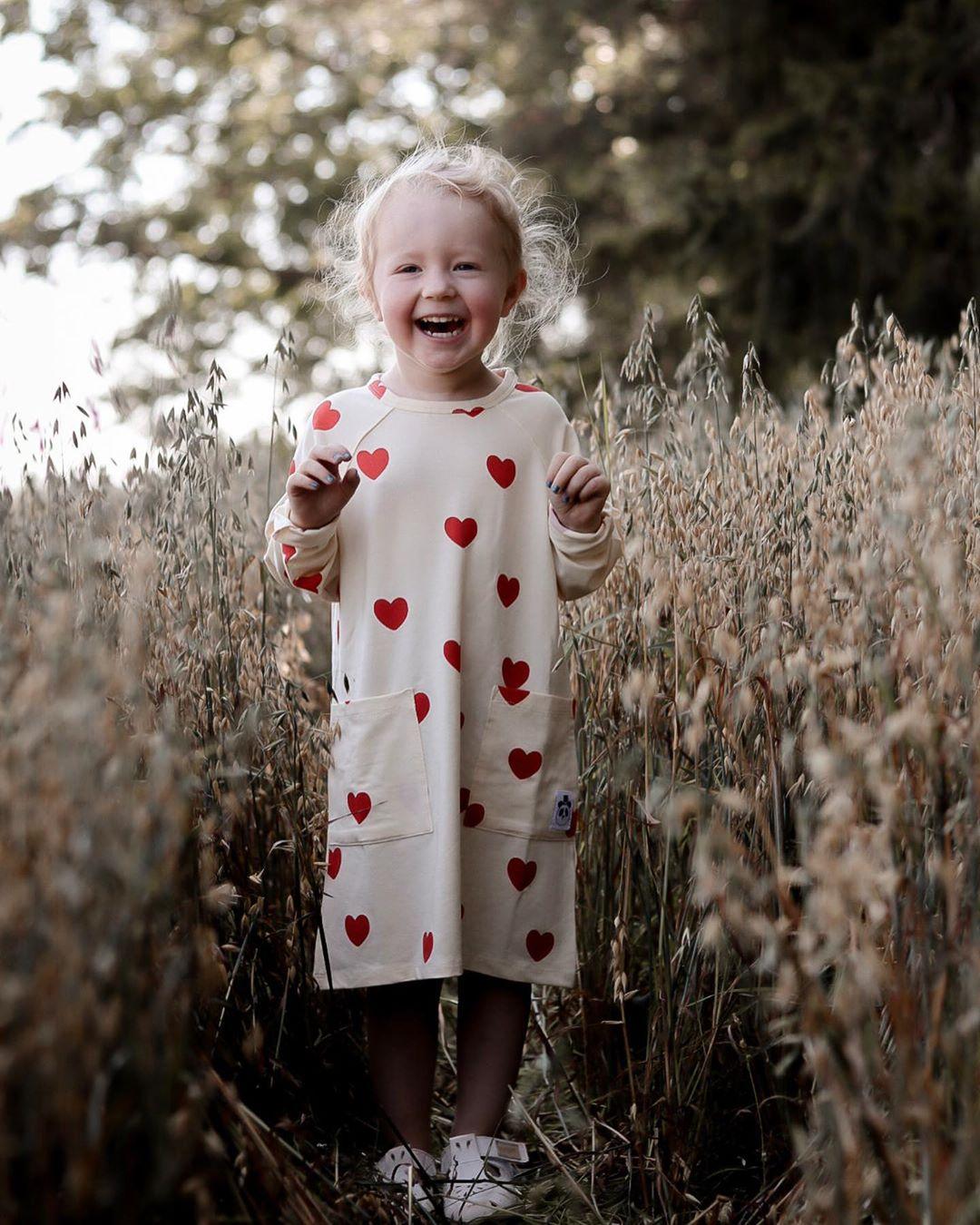 MINI Brand Kids T-shirts 2020 New Autumn Girls Heart Pattern Dress Fall Long Sleeve Cotton Fashion Baby Girl Boys Casual Dresses 6
