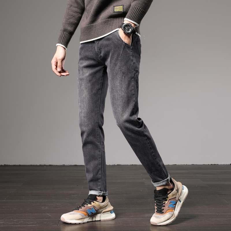 Men's Washed Black Dark Gray Grey Color Vintage Wash Slim Fit Denim Jeans Pants Pantalone Trousers For Men Boys