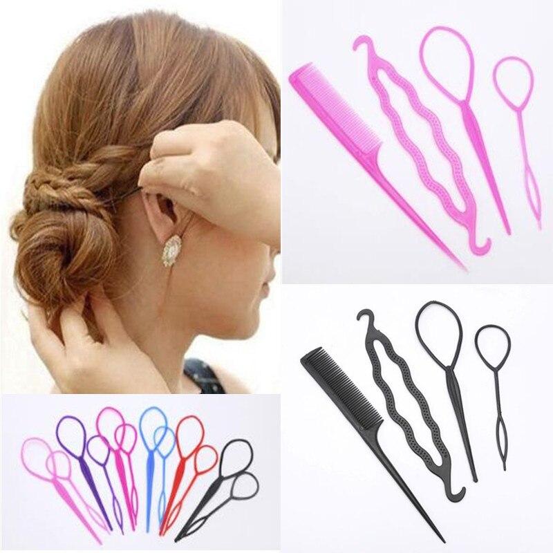 Fashion 4pcs/set Women Girls Fast Easy Magic Bun Princess Hairstyle Popular Hair Artifact Tool Hair Braider Maker Styling Tool(China)