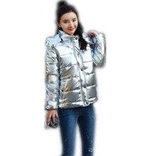 2019 Autumn Women's Winter Coats Fashion Silver Hooded Parkas Woman Winter Jacke