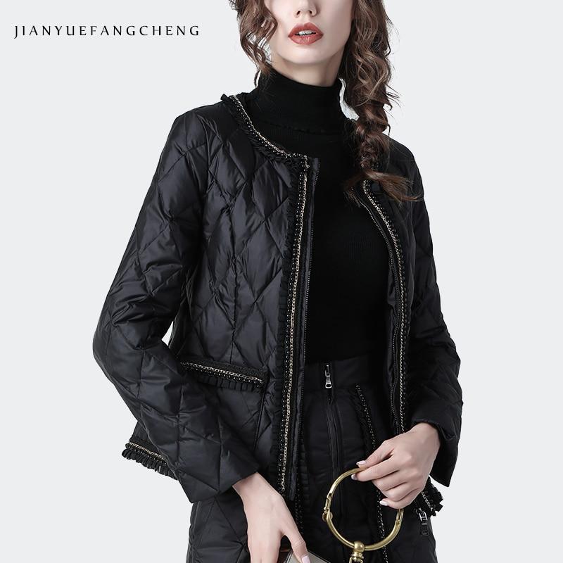 Fashion O-Neck Black Short Down Jacket Women Winter Coat Warm Lightly High Waist Slim Women' Top Plus Size Duck Down Jackets