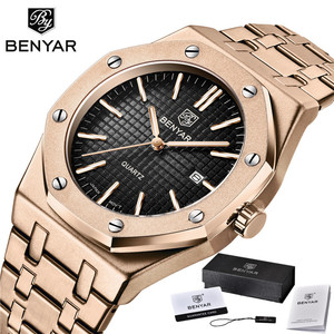 Image 5 - BENYAR Men Watch Top Brand Luxury Rose Gold Waterproof Military Male Clock Sport Stainless Steel Calendar Man Wristwatch 5156
