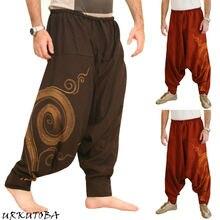 Мужские повседневные мешковатые штаны-шаровары для йоги с эластичной резинкой на талии, мужские Мешковатые хиппи цыганский Бохо-стиль Aladdin хиппи бохо Aladdin Alibaba