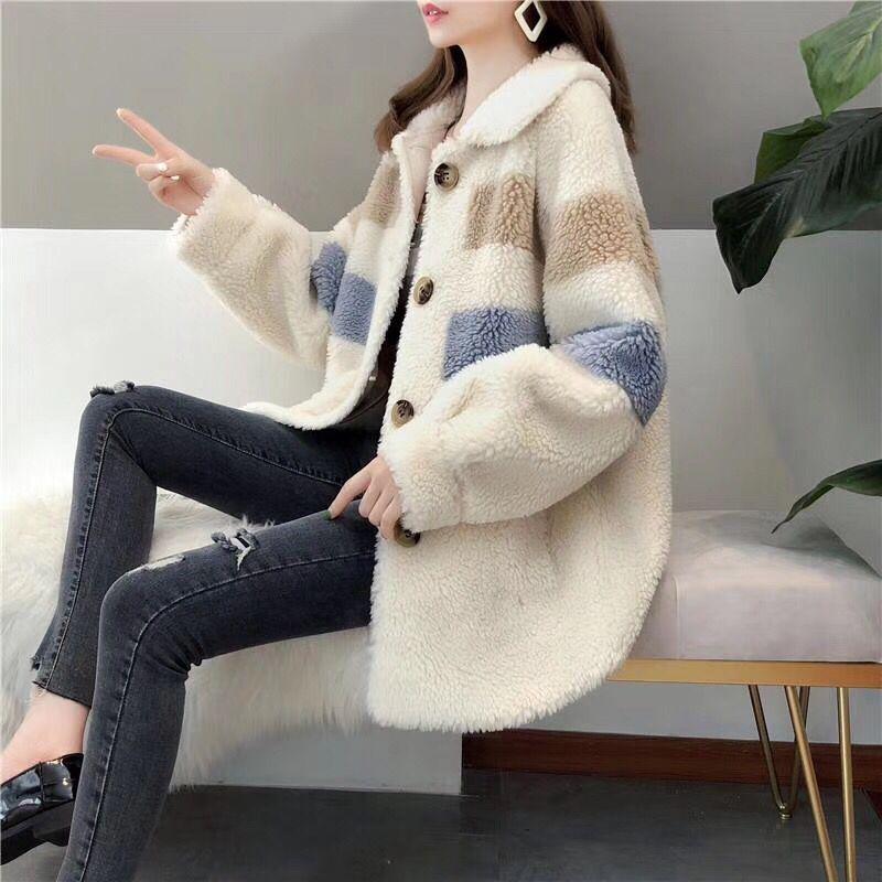 2019 Women New Winter Clothing Thicken Fleece Jacket Female Korean Striped Loose Faux Sheepskin Fur Coat For Women