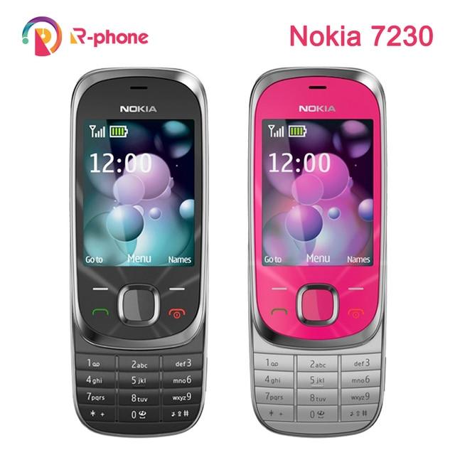 단장 한 원래 노키아 7230 2G GSM 잠금 해제 휴대 전화 및 영어 러시아어 히브리어 아랍어 키보드