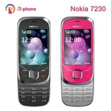 ตกแต่งใหม่ Nokia 7230 2G GSM ปลดล็อกโทรศัพท์มือถือและภาษาอังกฤษรัสเซียฮีบรูแป้นพิมพ์ภาษาอาหรับ