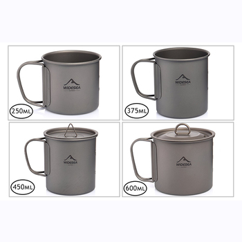 Widesea Camping Mug Titanium Cup Tourist Tableware Picnic Utensils Outdoor Kitchen Equipment Travel Cooking set Cookware Hiking 2