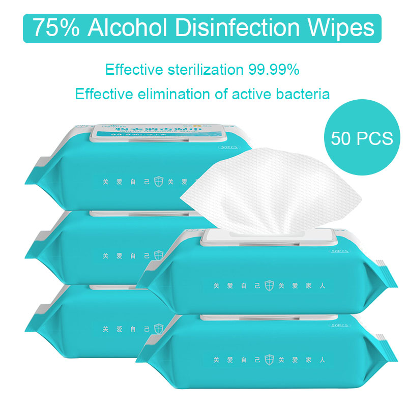 50pcs Alcohol Disinfection Wipes 75% Alcohol Swabs Wet Wipes Antiseptic Skin Cleanser Cleaning Care Sterilization Pads First Aid